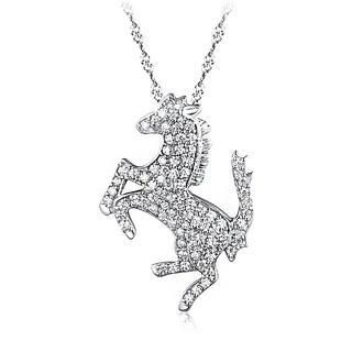 BELEC - White Gold Plated 925 Sterling Silver Horse Pendant with White Cubic Zirconia and 45cm Necklace