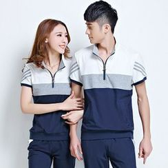 Azure - Couple Matching Set: Color Block Sports Top + Sweatpants