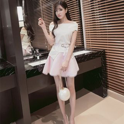 Louise - Set: Off Shoulder Short Sleeve Top + Perforated Scallop Hem Mini Skirt