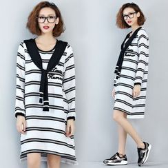 Carabecca - Letter Embroidered Striped Long Sleeve T-Shirt Dress