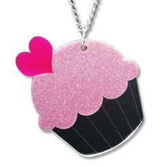 Sweet & Co. - XL Glitter Pink Cupcake Mirror Long Necklace