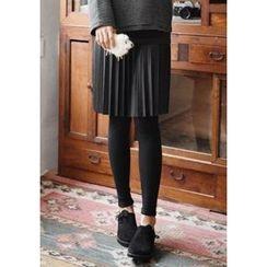 GOROKE - Inset Pleated Faux-Leather Skirt Leggings