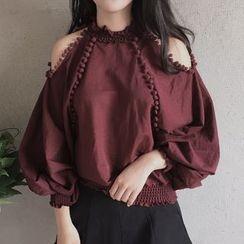 時尚麻豆家 - 露肩氣球袖襯衫