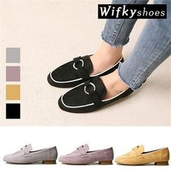 Wifky - Ring-Accent Contrast-Trim Faux-Suede Loafers