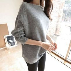 Hello sweety - Boat-Neck Dolman-Sleeve Sweater