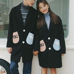 Bay Go Mall - Couple Matching Color Block Long Coat