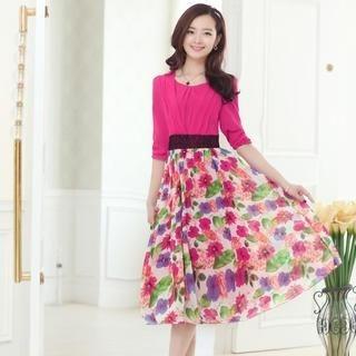 Aierys - Lace-Panel Patterned Maxi Dress