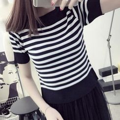 Ichiyarn - Striped Short Sleeve Knit Top