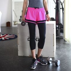 Morning Body - Cropped Leggings Inset Sport Shorts