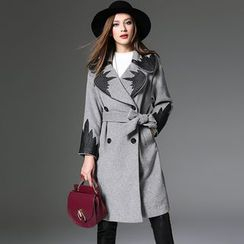 Y:Q - Double Breasted Long Woolen Coat