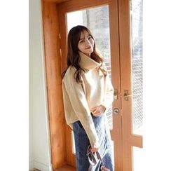 CHERRYKOKO - Turtle-Neck Drop-Shoulder Knit Top