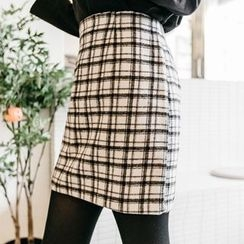 Seoul Fashion - Plaid Wool Blend Mini Skirt