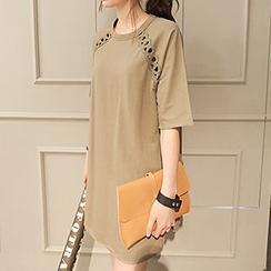 Katie Bloom - Lace Trim Short-Sleeve T-Shirt Dress