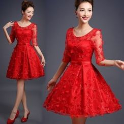 Bridal Workshop - Petal Elbow-Sleeve A-Line Cocktail Dress
