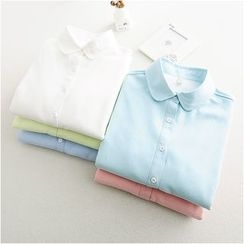 Storyland - Long-Sleeve Fleece-Lined Plain Blouse
