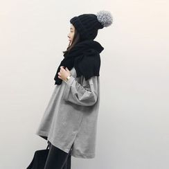 NANING9 - Round-Neck Long-Sleeve Oversized Top