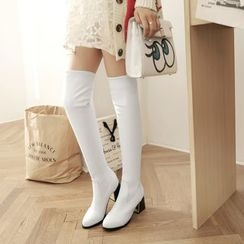 Pastel Pairs - Chunky Heel Over-The-Knee Boots