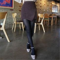 QNIGIRLS - Wool Knit Mini Skirt