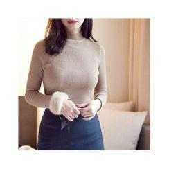 MASoeur - V-Neck Slit-Hem Sweater