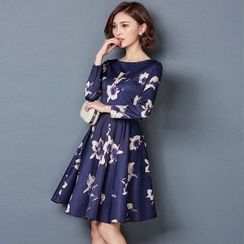 Romantica - Long-Sleeve Printed A-Line Dress
