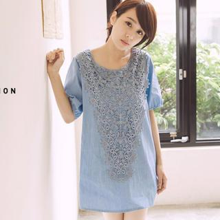 Tokyo Fashion - Lace-Front Bow-Back Denim Tunic