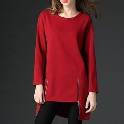 Mythmax - Long-Sleeve Zip-Accent Long Top