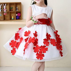 HELLO BABY - Kids Floral Accent Sleeveless Dress
