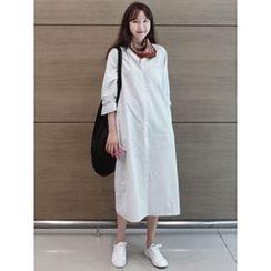 maybe-baby - Mandarin-Collar Striped Long Shirtdress