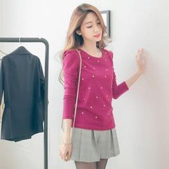 Tokyo Fashion - Juliet-Sleeve Studded Knit Top