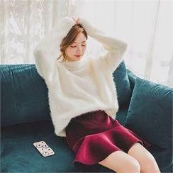 ERANZI - Mock-Neck Glittered Furry-Knit Top