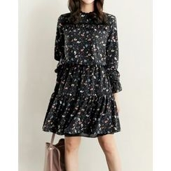 UPTOWNHOLIC - Lace-Trim Floral Print Dress