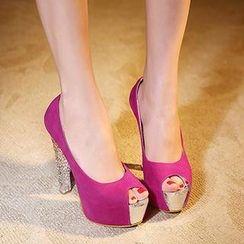Mancienne - Peep-Toe Platform Stilettos