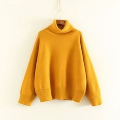 Mushi - Turtleneck Batwing Knit Top