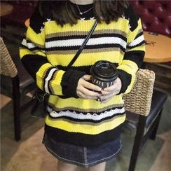 Bloombloom - Color Block Thick Sweater
