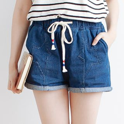 Forest Girl - Star Drawstring Waist Denim Shorts