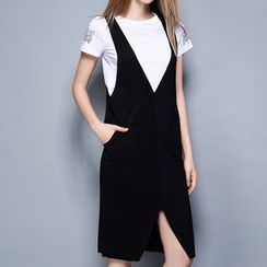 妮佳 - 套装: 印花短袖T恤 + 前开衩背带裙