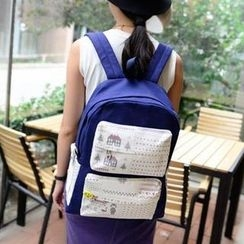 Miss Sweety - Color-Block Printed Backpack