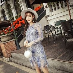 RUI - Long-Sleeve Glitter See Thought Dress