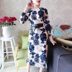 ZAPPA - Long-Sleeve Floral Sheath Midi Dress