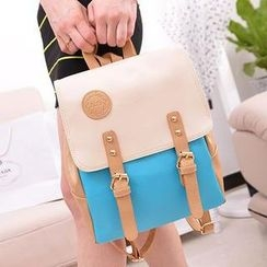 TAIPEI STAR - Buckled Color-Block Backpack