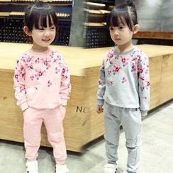 Merry Go Round - Kids Set: Floral Pullover + Sweatpants