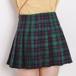 FancyMe - Pleated Plaid Skirt