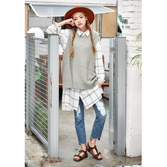 GOROKE - Sleeveless Wool Blend Cable-Knit Top