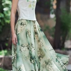 GU ZHI - Printed A-Line Skirt