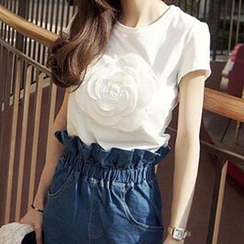 Dowisi - Short-Sleeve Rosette Embroidered T-Shirt