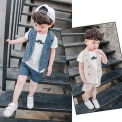 Pinty - Kids Set: Striped Vest + Shorts