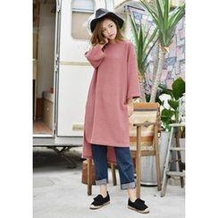 GOROKE - Cropped-Sleeve Dip-Back T-Shirt Dress