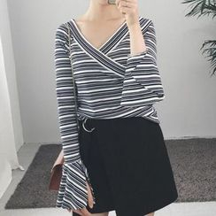 Moon City - Striped V-Neck Bell-Sleeve T-Shirt