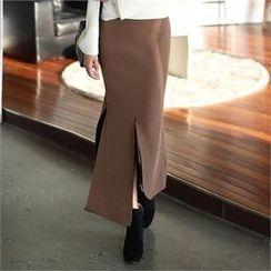CHICFOX - Slit-Trim Maxi Skirt