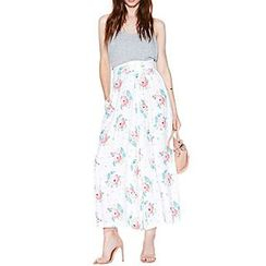 Richcoco - Floral Print High-Waist Wide Leg Pants